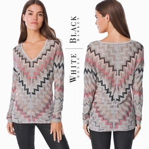 WHBM metallic chevron dolman sleeve sweater